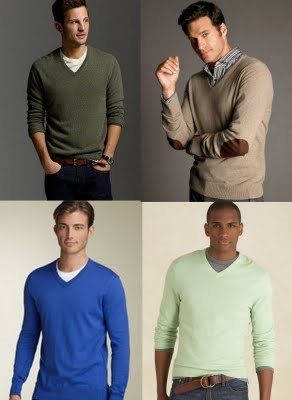Plain v-neck  mens sweater