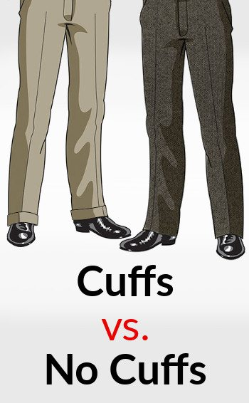 Cuffed dress pants or no-cuff pants Trouser cuffs are required on some pants but can also be left up to your personal taste. If you are wearing pants with pleats, you need to have a cuff on your pants; the weight of the cuff will hold the pleats in place.