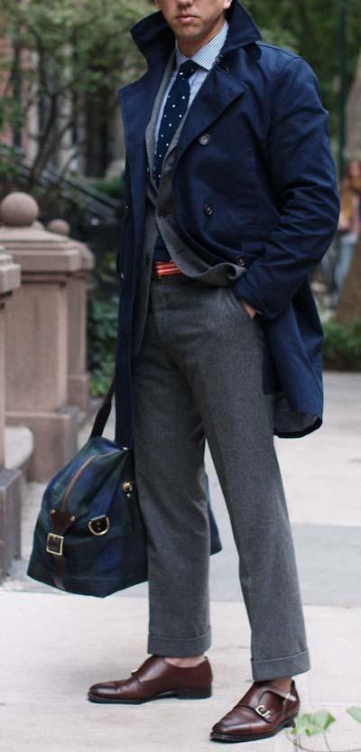 Man wearing gray trousers