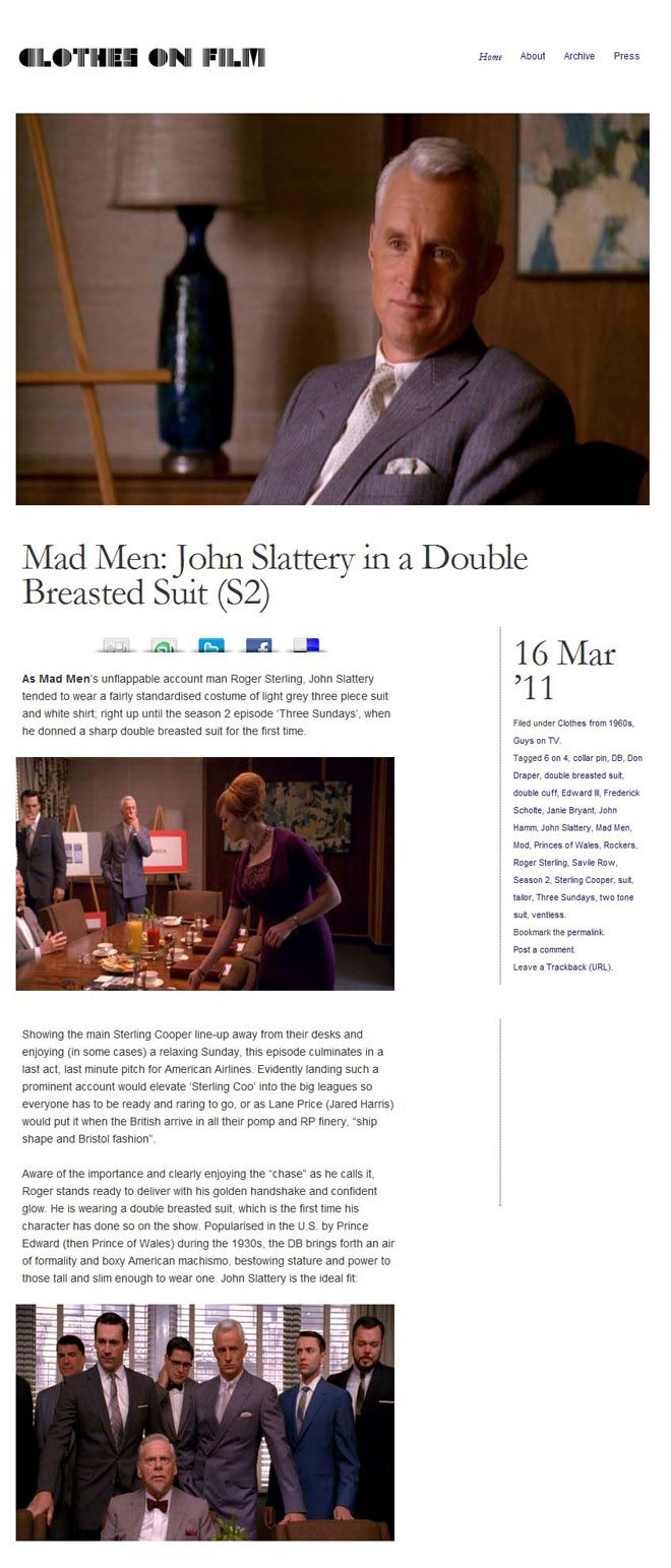 Mad Men John Slattery Double Breasted Suit