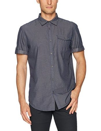 Calvin Klein Jeans Men's Short Sleeve Triangle Printed Chambray Button Down Shirt