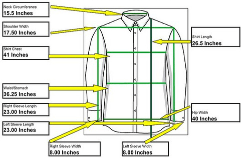 small men dress shirt measurements