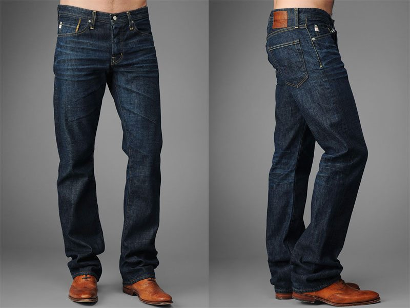 Straight Leg Jeans. Essentially the OG of denim, the straight leg is a traditional, All-American classic. Most often cut straight from hips down the legs with little tapering, straight leg jeans look best on athletic guys — a generous shoulder-to-hip ratio working to counteract the bagginess of the cut.