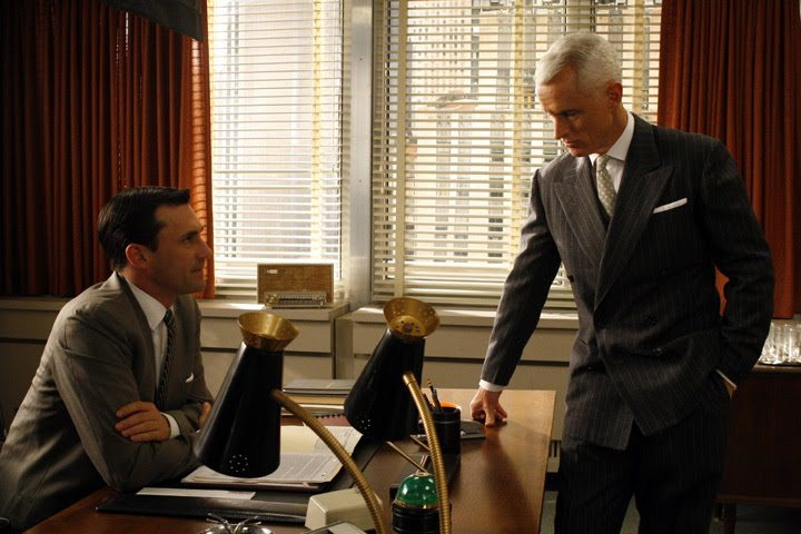 roger sterling office art. roger sterling in a pinstripe suit with peaked lapels office art