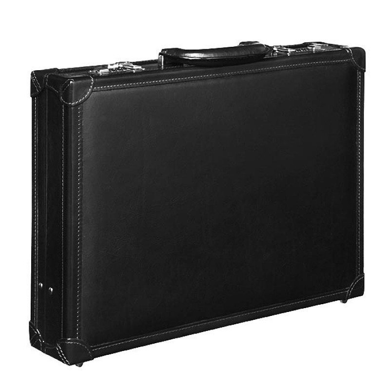 leather attache black briefcase