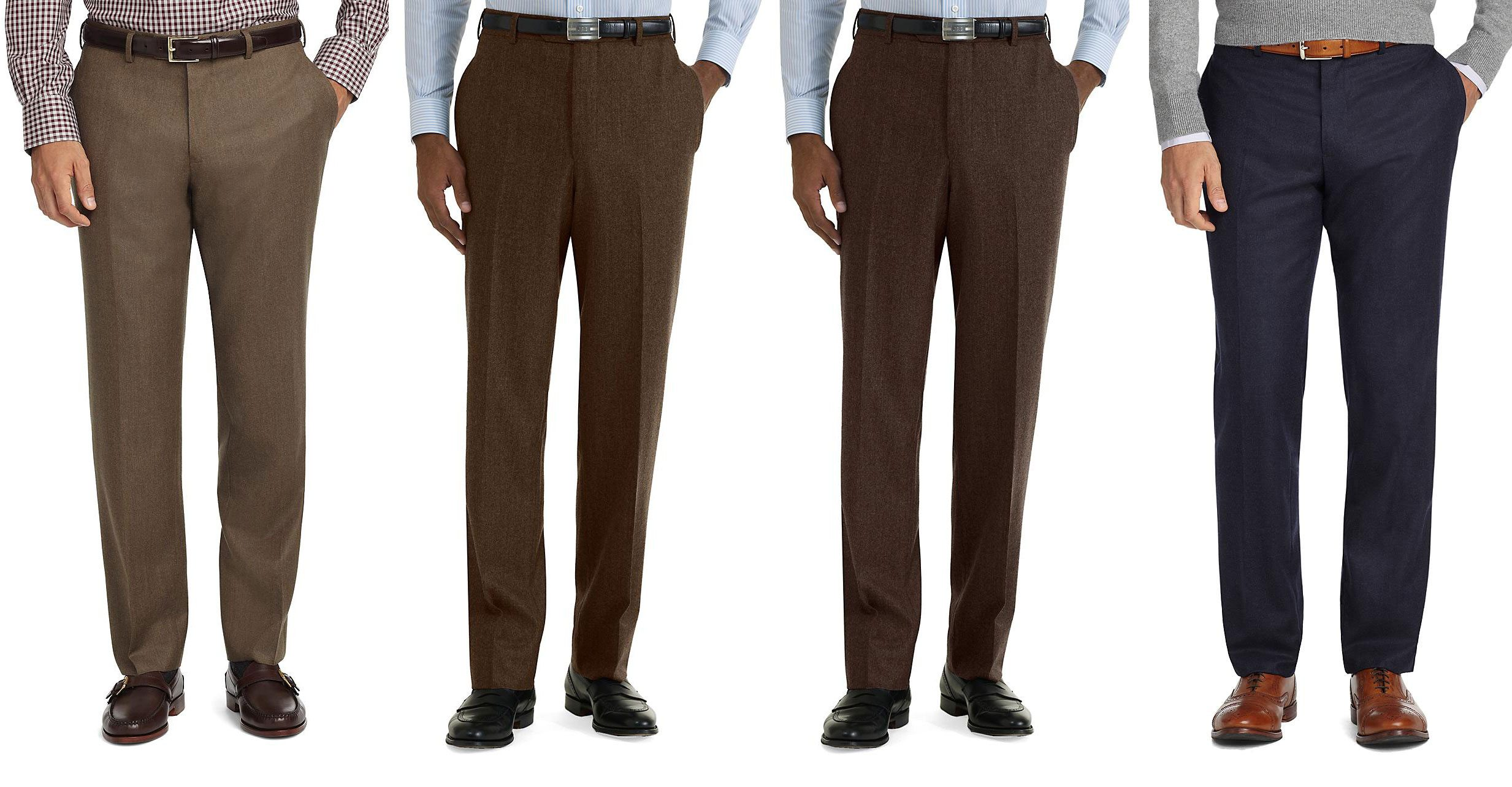 Black Top Grey Trousers Brown Shoes