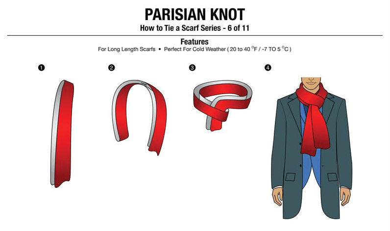7 simple ways to tie scarves men style tips im going to use the parisian knot or the french knot very simple knot but one that you need a longer scarf for so we can see the length of this scarf ccuart Gallery