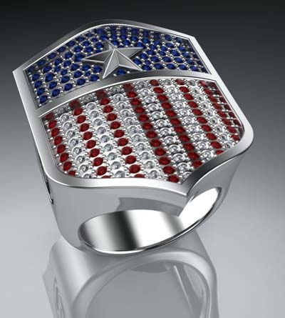 - Crafted from solid sterling silver - Complemented by 190 gemstones - 38mm height / 27mm width - Designed and handcrafted by Proclamation Jewelry in the USA Let liberty ring! Proclaim your patriotism with this unique men's ring, a symbol of your ambitions and pursuits.