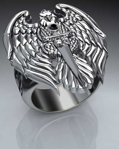 This large ring features a free-standing eagle, grasping a razor-sharp sword with it's talons. The eagle's wings are spread, featuring incredibly sharp detail lines. The band is thick and expertly contoured to fit the curve of your finger comfortably. Let this modern twist on a classic power symbol elevate your wardrobe.