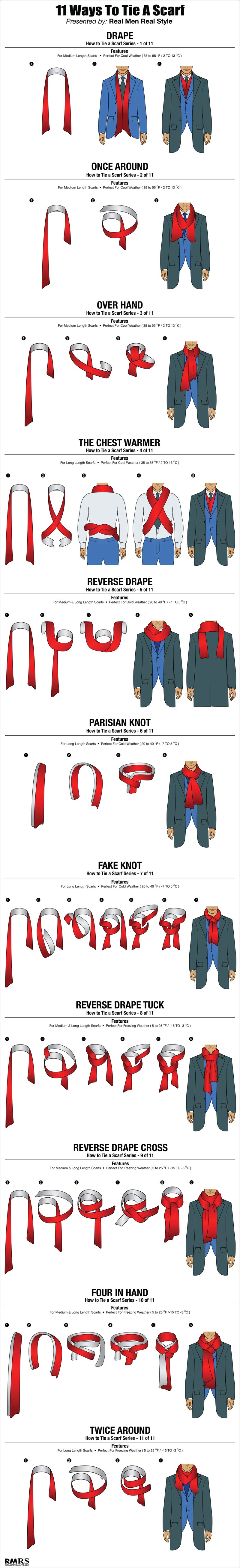 how to tie a scarf chart 11 masculine ways to tie scarves
