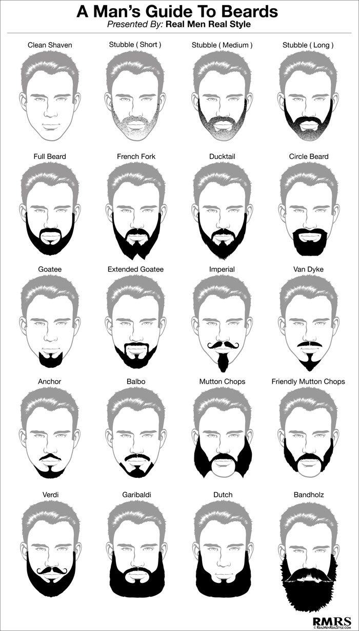 Remarkable Man39S Guide To 16 Beards Beard Style Infographic For Men Short Hairstyles For Black Women Fulllsitofus