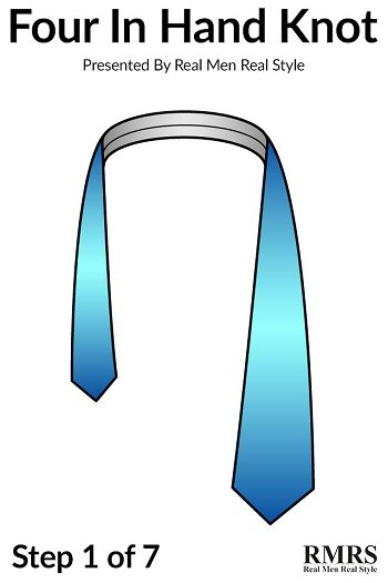 How to tie a necktie the four in hand knot easily tie four in hand 4 in hand tall infographic slice 2 350 ccuart Image collections