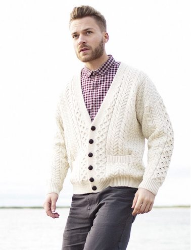Merino Wool Aran Men's V-Neck Cardigan