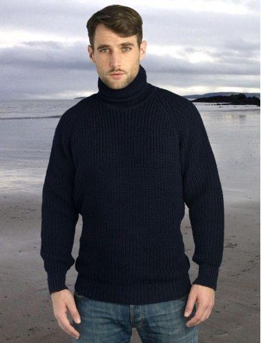 Fisherman's Ribbed Wool Turtleneck Sweater