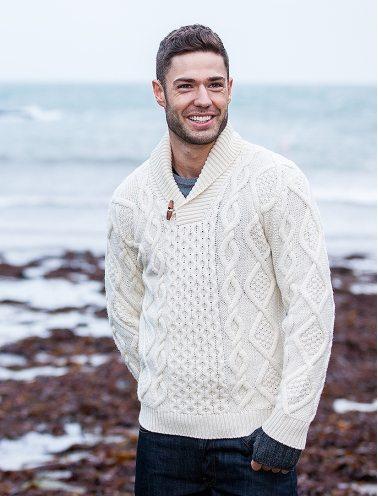 Aran Shawl Neck Fisherman Sweater