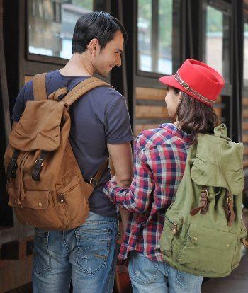 Kattee Unisex Canvas Backpack Rucksack School Hiking Bag