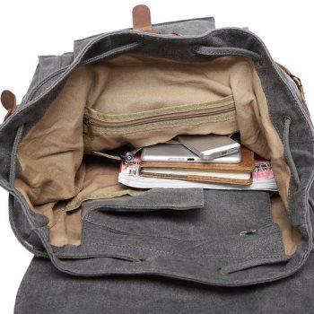 Kattee Vintage Canvas Leather Hiking Travel Backpack Rucksack School Bag