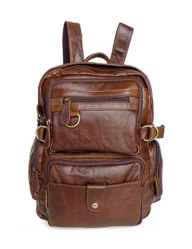 9b219b95c34f Kattee Multi Pockets Genuine Leather Small Backpack Shoulder Bag Backpack  ...