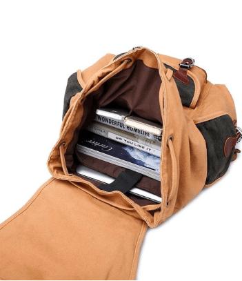 Kattee Canvas Leather Backpack School bag Hiking Travel Rucksack