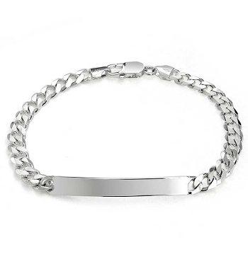 Bling Jewelry Sterling Silver Unisex Cuban Chain ID Bracelet 150 Gauge Italy