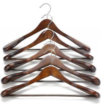JS Hanger Gugertree Деревянные очень широкие плечевые вешалки для костюмов, деревянные вешалки для одежды для шкафов, ретро-отделка
