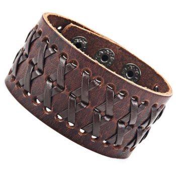 Stunning Brown Gipsy Kings Style Cuff Leather Bracelet Wristband Bangle Fashion