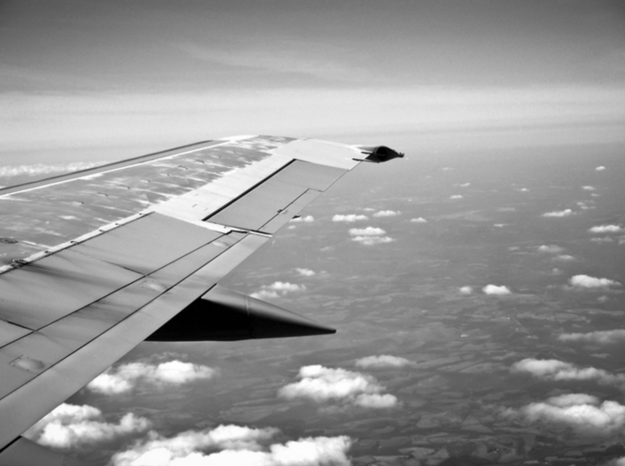plane wing in air