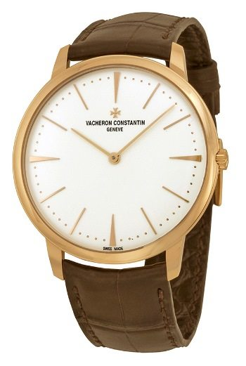 Vacheron Constantin Patrimony Grand Taille Automatic Silver Dial Brown Leather Mens Watch