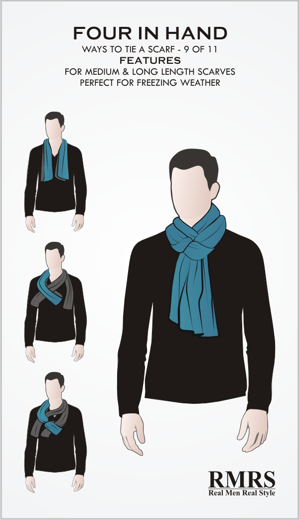 How To Tie A Scarf   Four In Hand Knot   Infographic