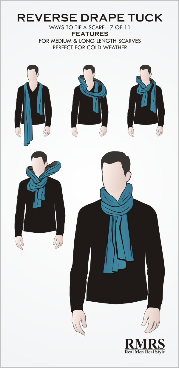 How to tie a scarf reverse drape tuck knot infographic ccuart Choice Image