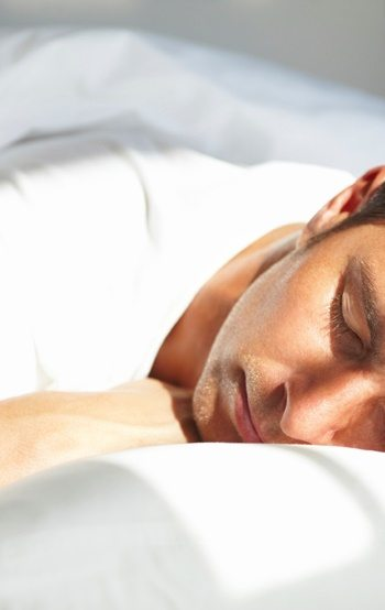 A young man sleeping
