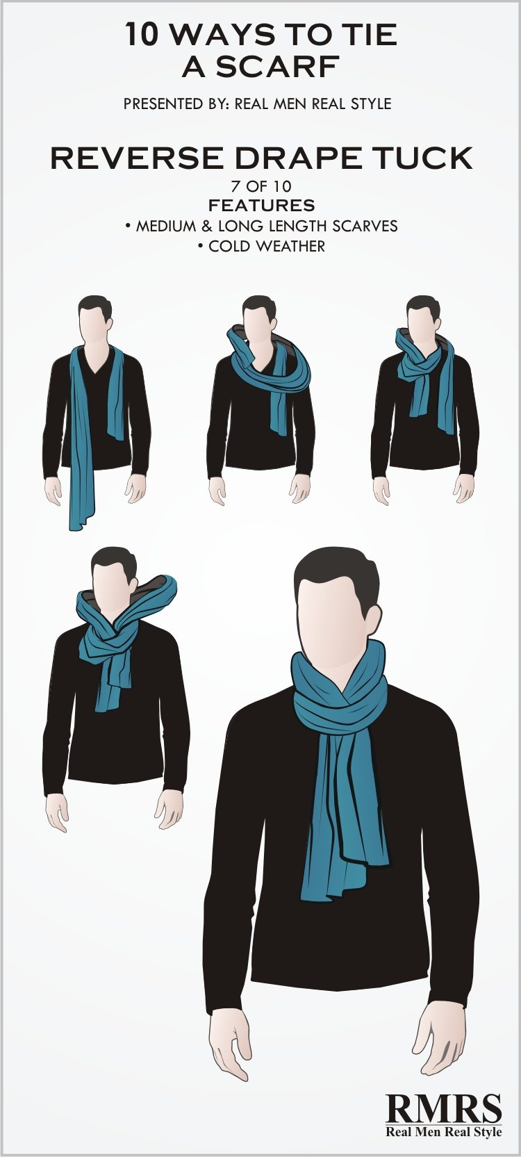 10 manly ways to tie a scarf masculine knots for men wearing scarves scarf knot 7 reverse drape tuck ccuart Choice Image