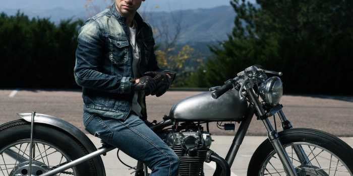 mens fall fashion guide denim on motorcycle