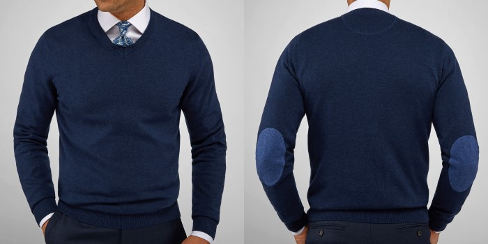 navy pima v-neck men's cotton sweater