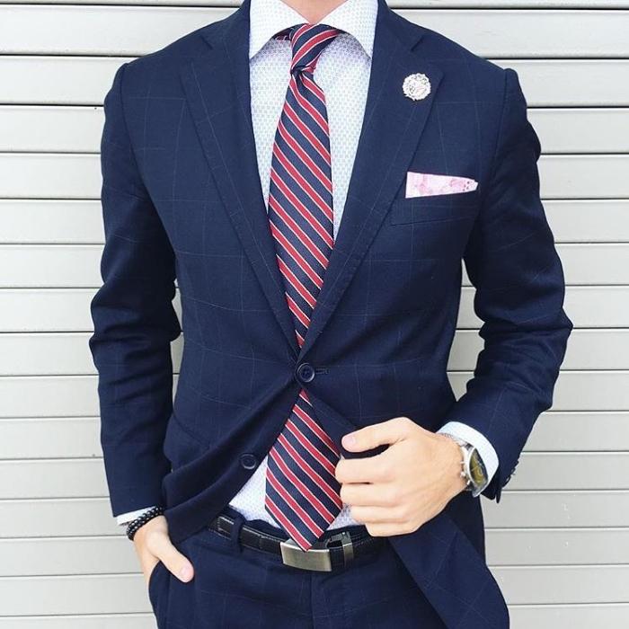 regimental tie with suit