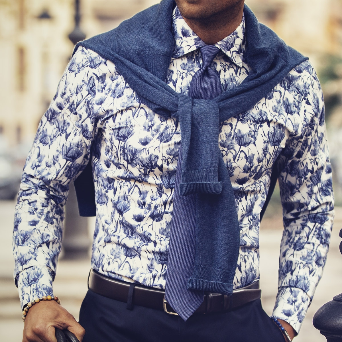 john henric blue and white patterned shirt