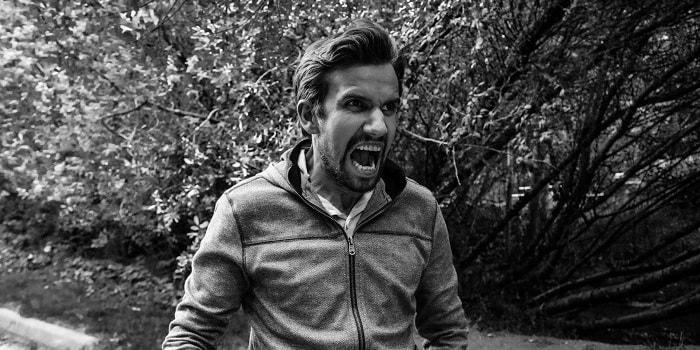 angry man walking