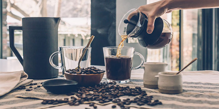 drinking pouring coffee