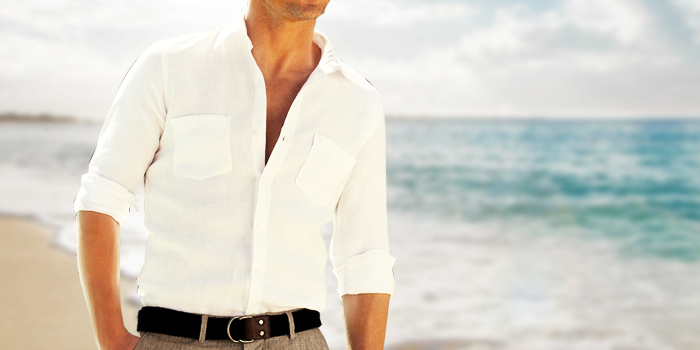 guy in a white linen shirt