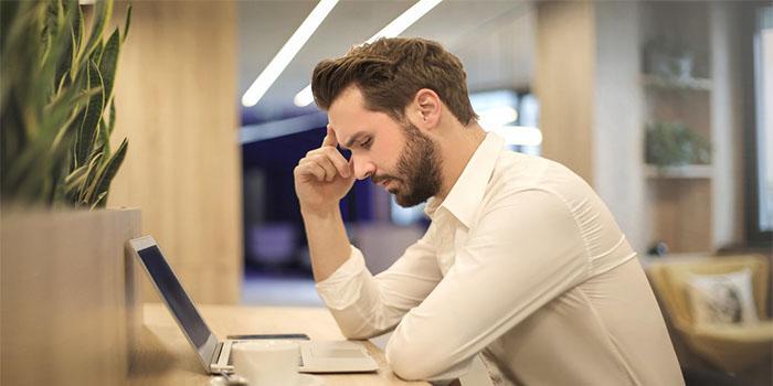 nervous man overthinking