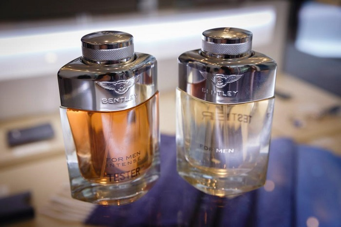 bentley colognes on table