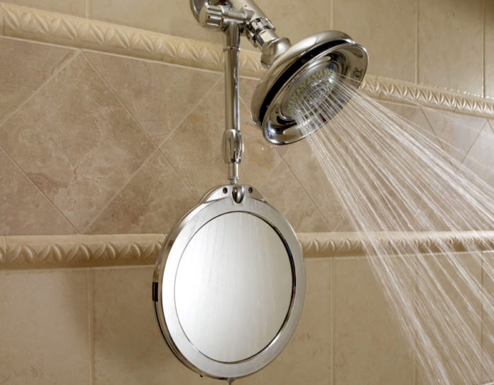shower hacks fixed water heated mirror