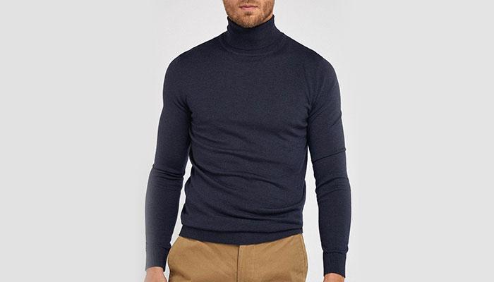 cold weather fashion navy turtleneck john henric