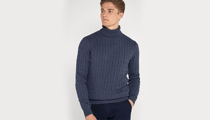 cold weather fashion cable knit turtleneck