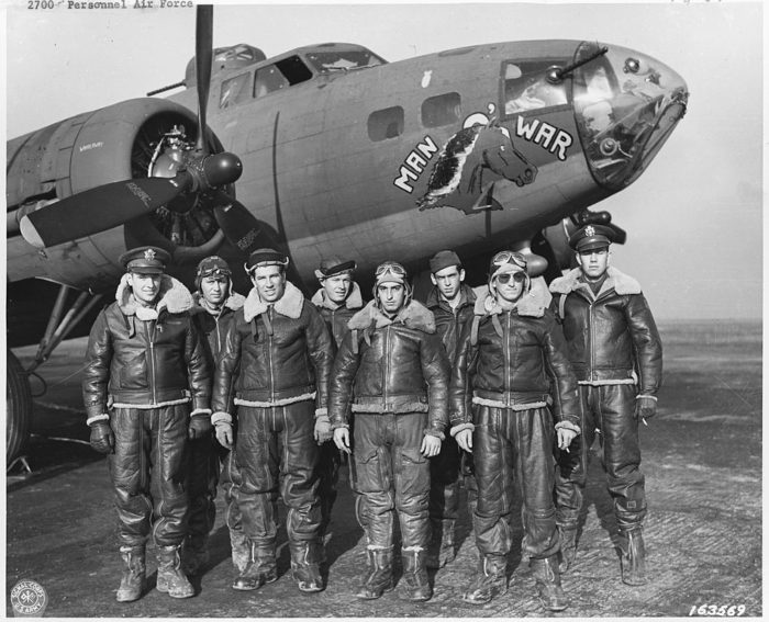 fighter pilots in shearling jackets