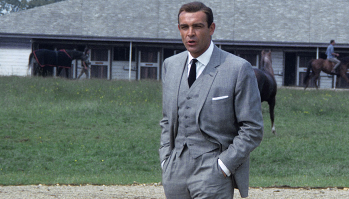 sean connery style three piece suit goldfinger