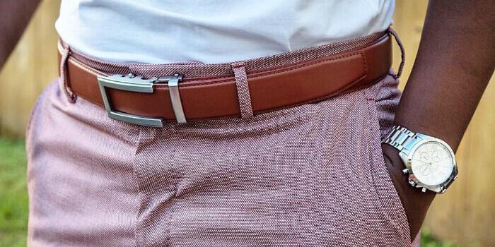 Smart belt on smart trousers