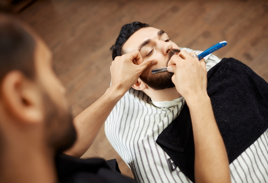 Barber Shave With A-Straight Razor