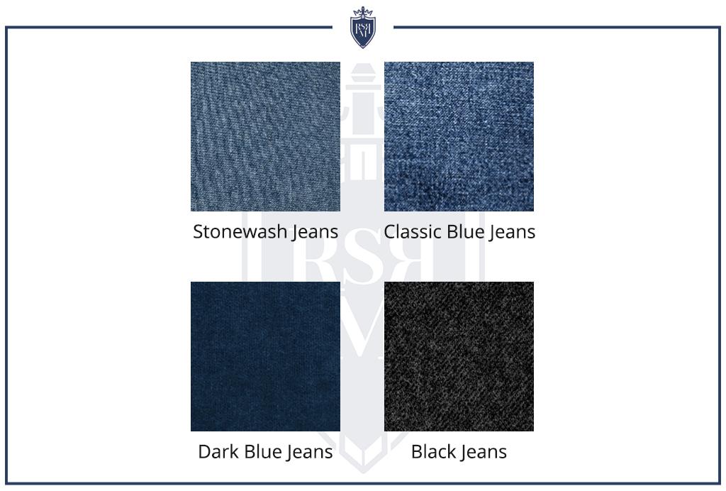 Infográfico - Tabela de cores de jeans (como usar camisetas de jeans masculinas)