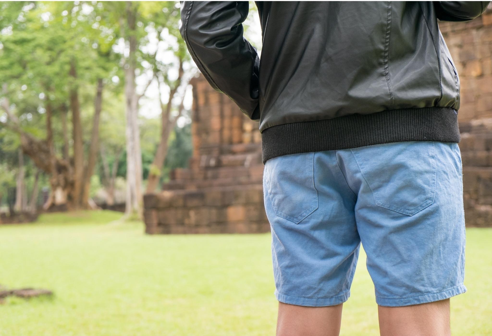 man wearing shorts and casual jacket